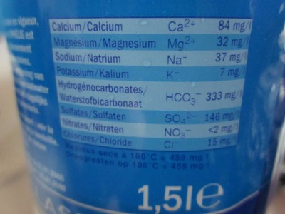 Étiquette d'une bouteille d'eau